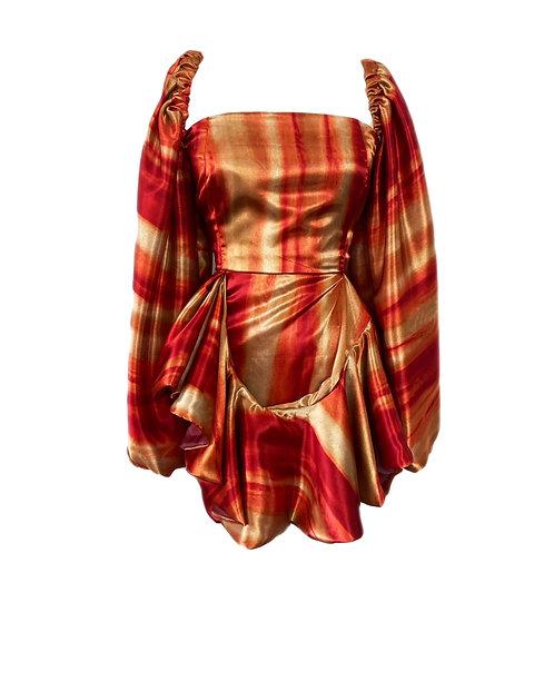 FAY- GOLD PRINT BELL SLEEVE DRESS