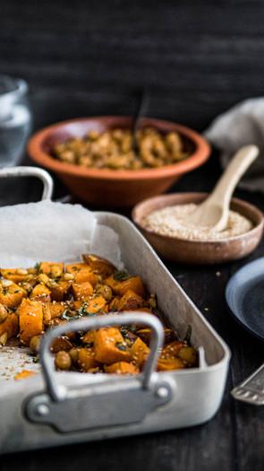 Hunaja-bataatit ja kikherne dukkah (gluteeniton)
