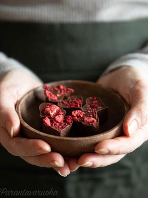 Mansikka-suklaafudget (vegaaninen, gluteeniton)