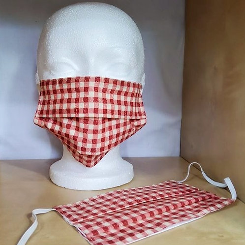 Masque CARREAUX ROUGES BLANCS - ADULTE standard