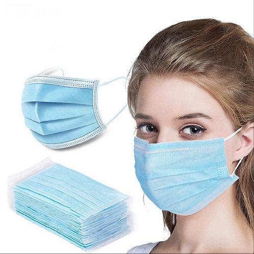 100 Masques Jetables 3 épaisseurs filtration à 95%