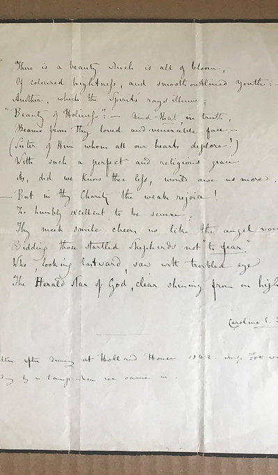 "NORTON, CAROLINE - Sonnet ""on the good little Aunty"" (manuscript)"
