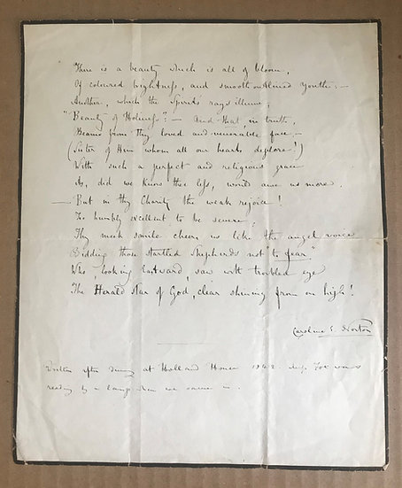"NORTON, CAROLINE - Sonnet ""on the good little Aunty"" (manuscript)"
