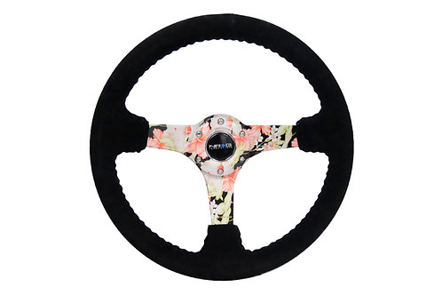 NRG REINFORCED STEERING WHEEL 350mm SUEDE IN DEEP FLORAL