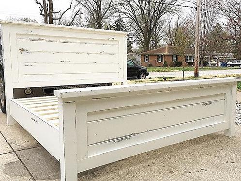 Distressed White Farmhouse Bed