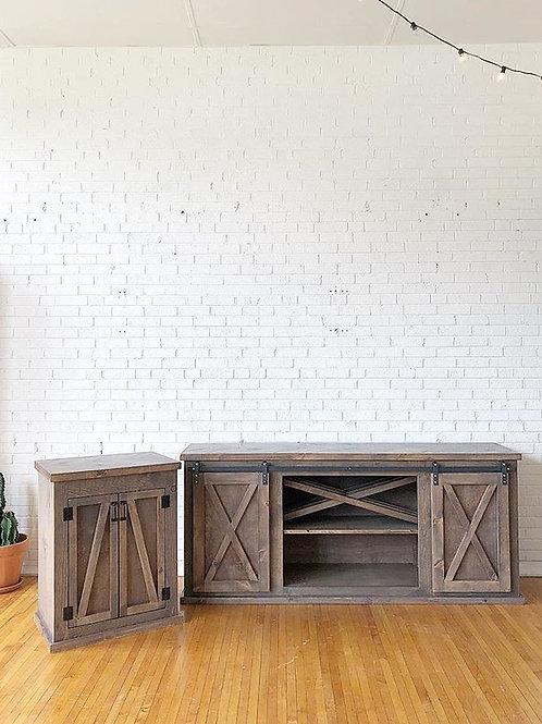 Barn Door Console with wine rack