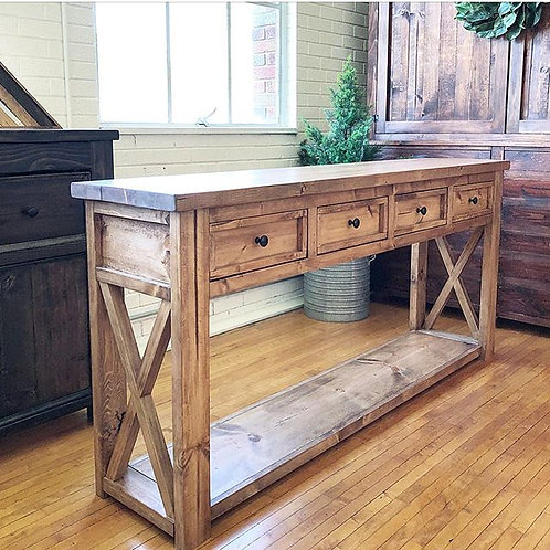 Rustic X Console With Drawers