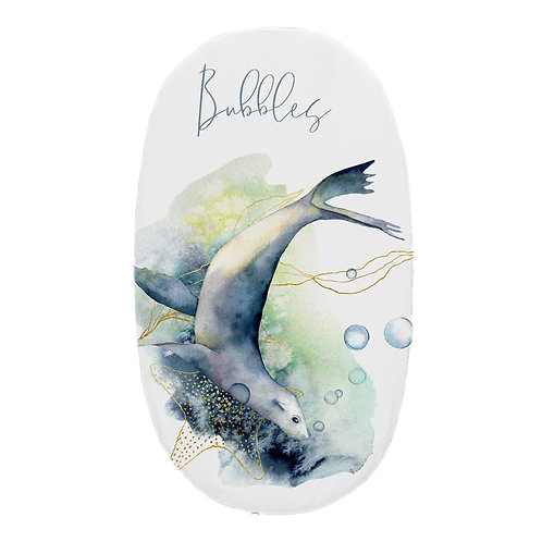 Personalized oval fitted sheet - ocean seal