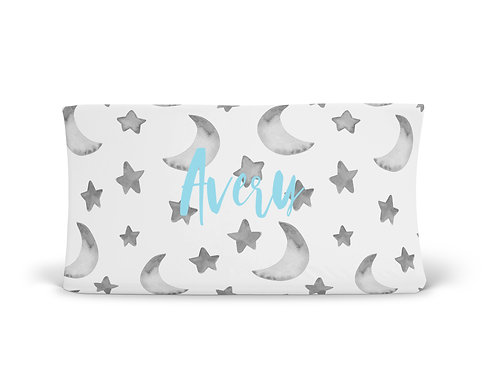 Personalized Changing Pad - Gray Moon & Stars