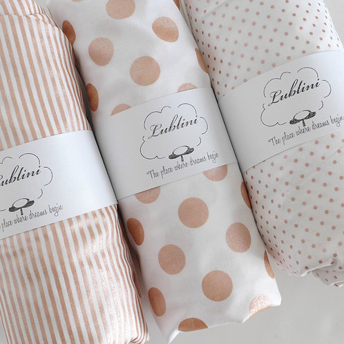 Crib fitted sheet - Rose Gold