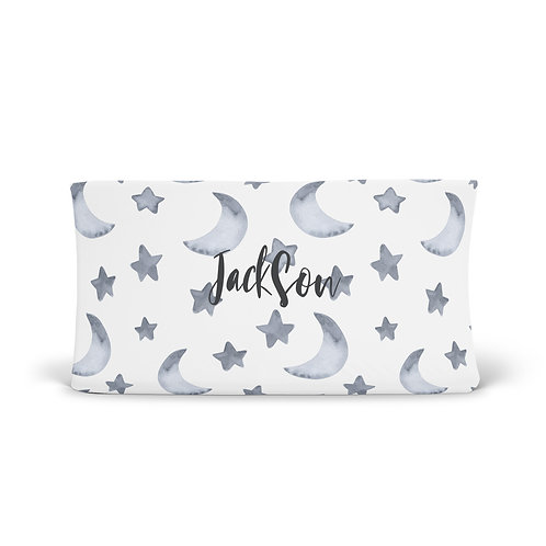 Personalized Changing Pad - Dusty Blue Moon & Stars