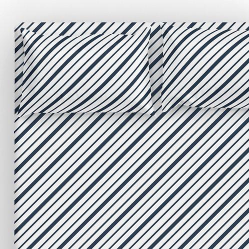 Italian cotton Sheet Set - Navy Diagonal Ticking