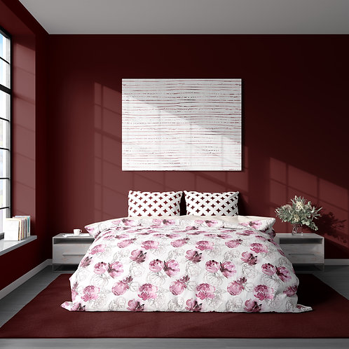 Personalized duvet cover - Red Wine Pink Roses