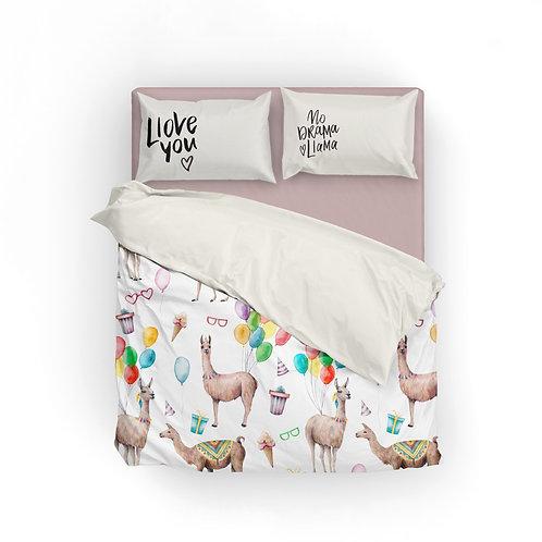 Personalized duvet cover - llama celebration