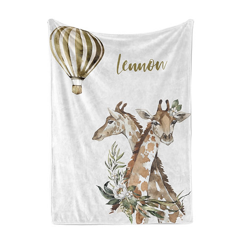 Personalized light blanket - Giraffe