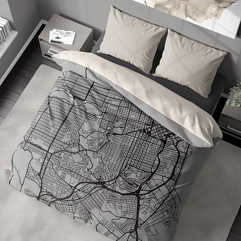 Duvet cover - City map 300+ cities US & Worldwide
