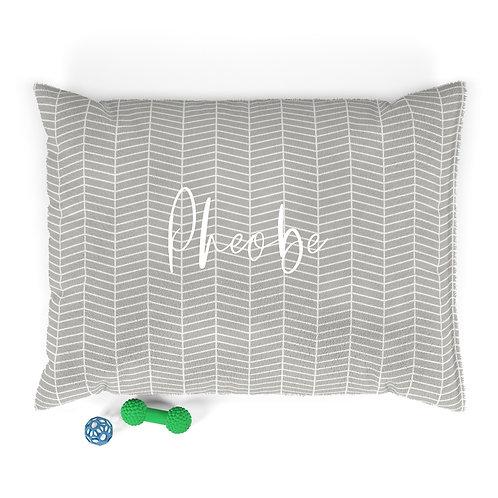Personalized Pet bed - Neutral herringbone