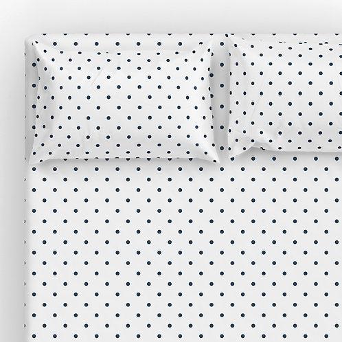 Italian cotton Sheet Set - Navy-Wh Pin dots