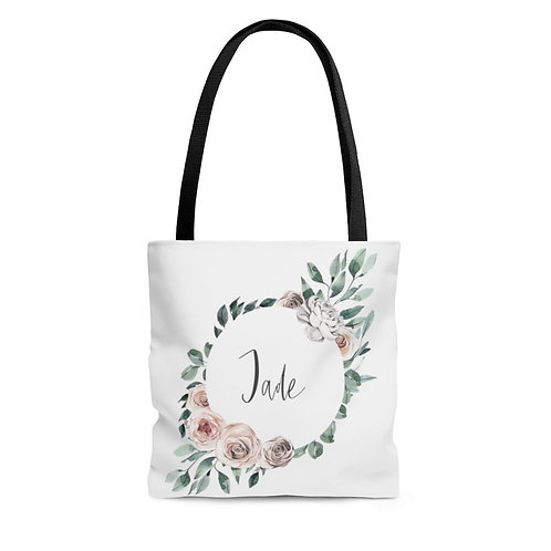Personalized Shopping Tote - boho wreath