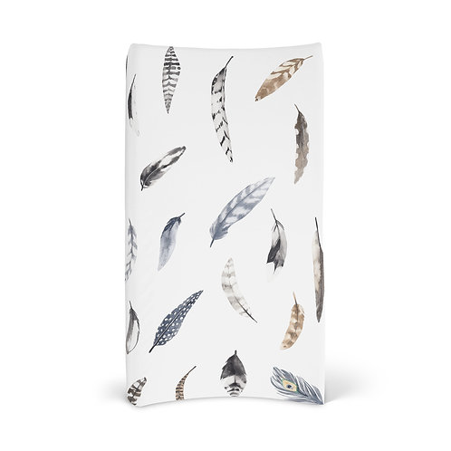 Personalized Changing Pad - Boho feathers