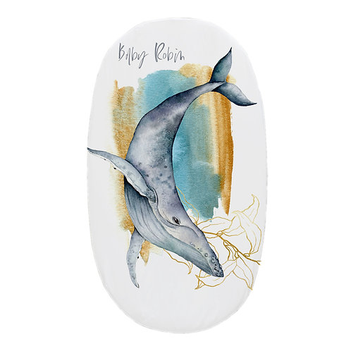 Personalized oval fitted sheet - ocean whale