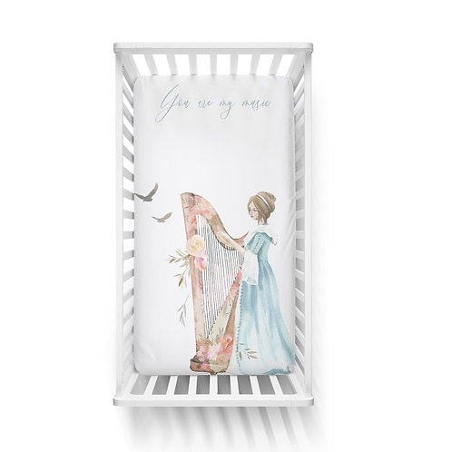 Personalized crib fitted sheet - Enchanted harp