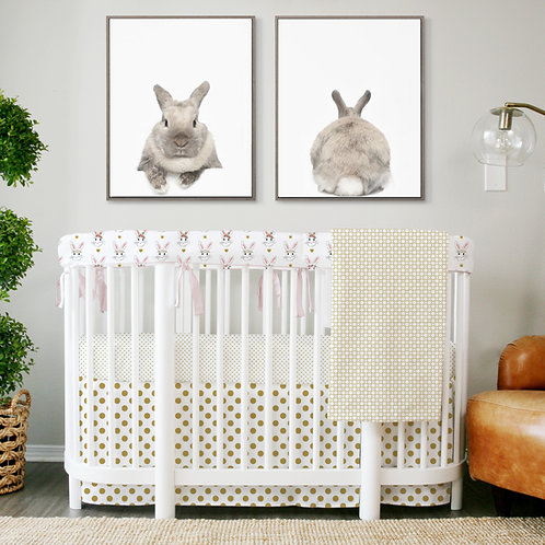 Stokke sleepi bumper 3pc rail guard set - bunnies & gold