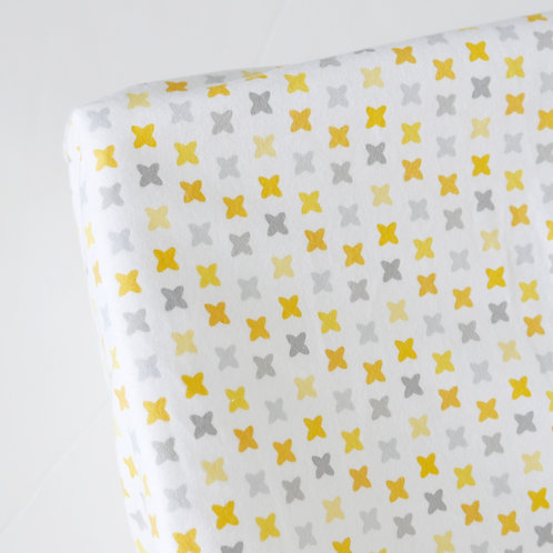 Crib fitted sheet - gray & yellow