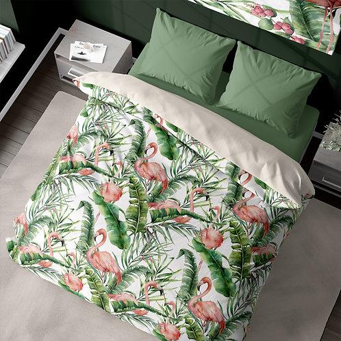 Personalized duvet cover - Flamingo Palm Tree