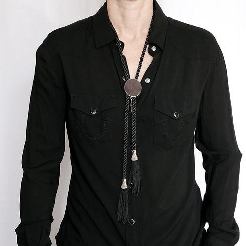 Western Bolo Tie/Necklace Vegan - Black