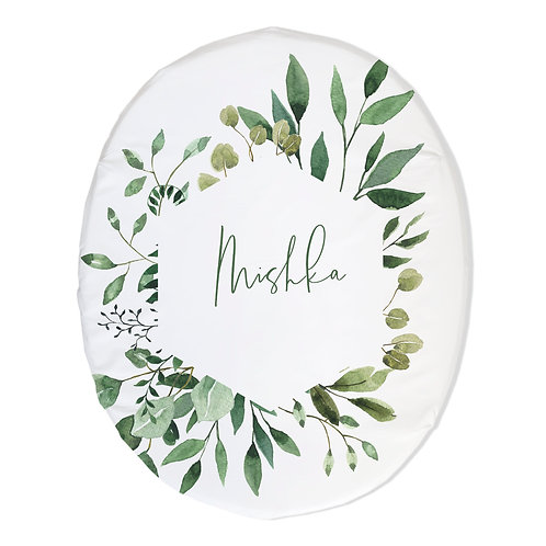Personalized oval fitted sheet - greenery wreath