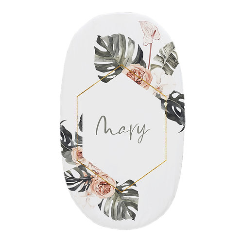 Personalized oval fitted sheet - Monstera B