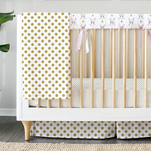 Crib teething rail guard - bunnies & gold