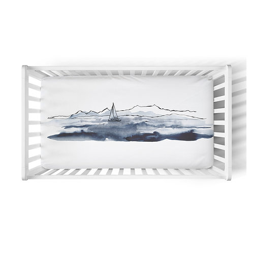 Personalized crib fitted sheet - Neptune yacht club