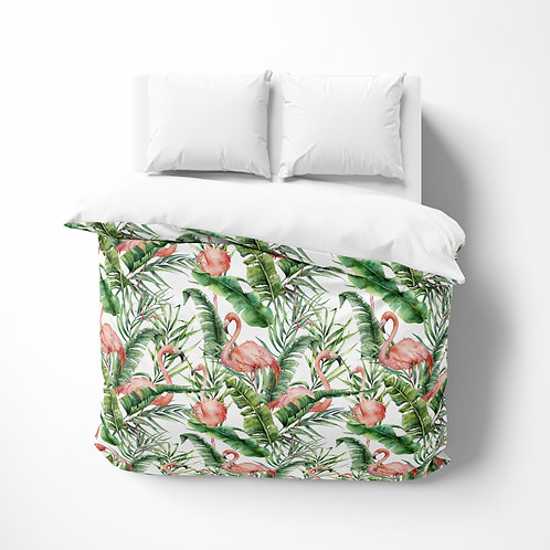 Personalized comforter - Flamingo Palm Tree