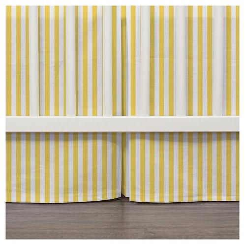 Crib skirt - gray & yellow
