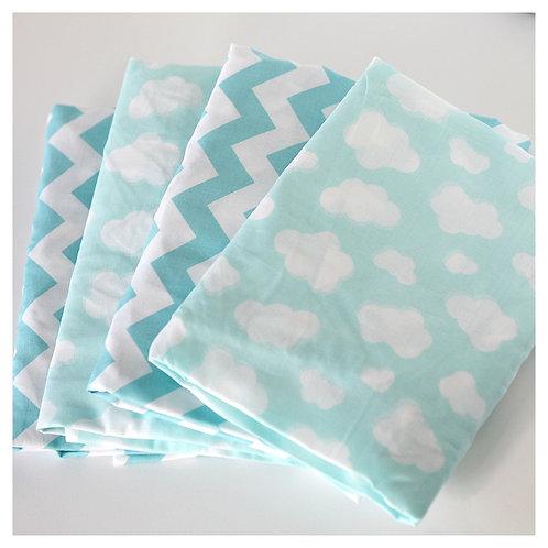 Crib fitted sheet - aqua