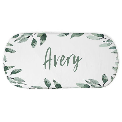 Personalized oval fitted sheet - boho leaves