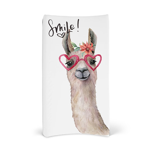 Personalized Changing Pad - Llama smile