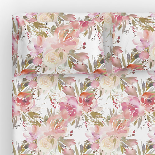 Italian cotton Sheet Set - Enchanted flowers