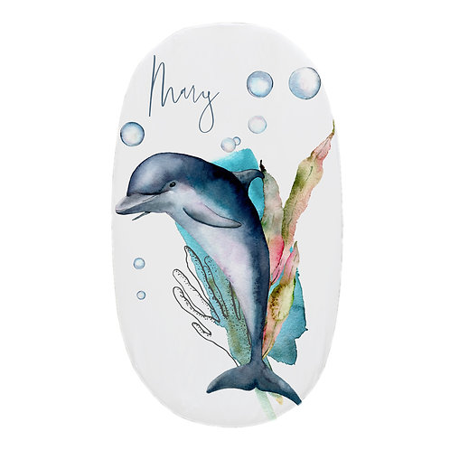 Personalized oval fitted sheet - ocean dolphin