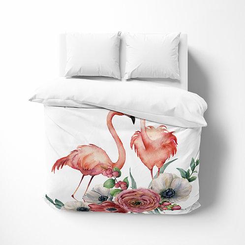 Personalized comforter - Flamingo Couple Poppy
