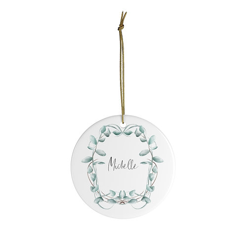 Ceramic Ornament - Eucalyptus Wreath