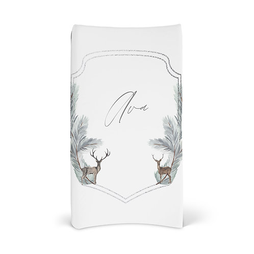 Personalized Changing Pad - Winter deer wreath