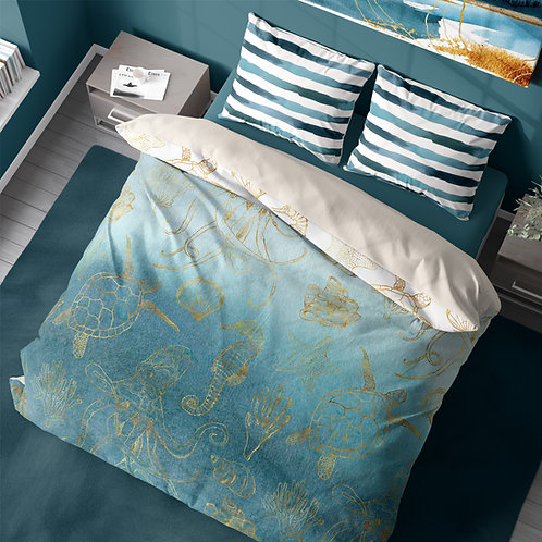 Personalized duvet cover - Gold ocean life