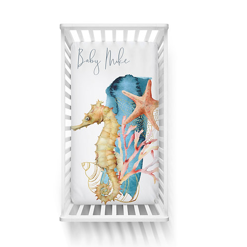 Personalized crib fitted sheet - Ocean seahorse