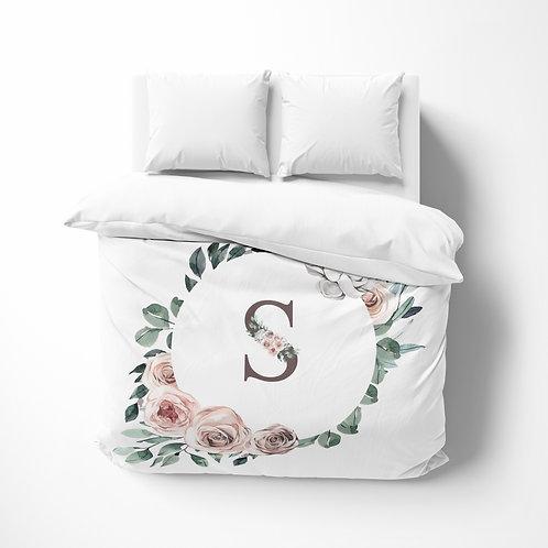Personalized comforter - Boho wreath