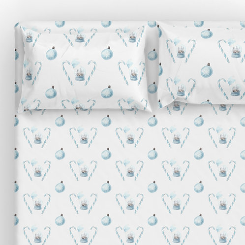 Italian cotton Sheet Set - Blue Xmas