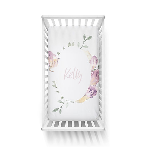 Personalized crib fitted sheet - floral wreath
