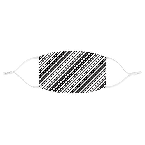 Fitted Face Mask - Black & White ticking